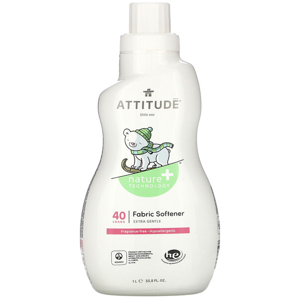 ATTITUDE, Fabric Softener, Fragrance-Free, 40 Loads, 33.8 fl oz