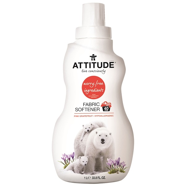 ATTITUDE, Fabric Softener, Pink Grapefruit, 40 loads, 33.8 fl oz (1 l) (Discontinued Item)