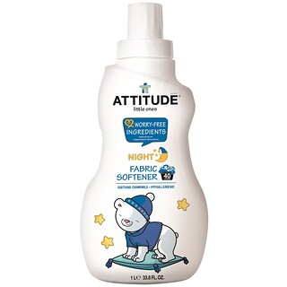 ATTITUDE, Little Ones, Fabric Softener, Night, Soothing Chamomile, 40 Loads, 33.8 fl oz (1 l)