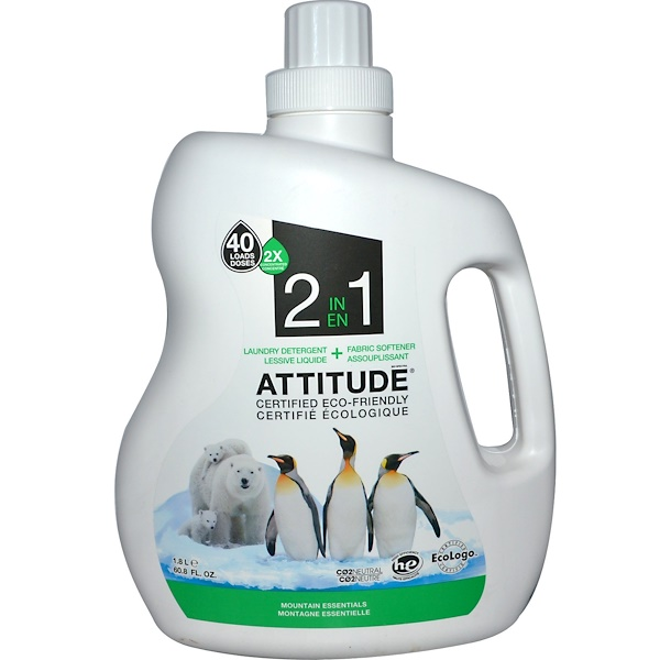 ATTITUDE, 2 in 1, Concentrated Laundry Detergent + Fabric Softener, Mountain Essentials, 60.8 fl oz (1.8 l) (Discontinued Item)