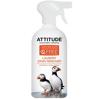 ATTITUDE, Laundry Stain Remover, Citrus Zest, 27.1 fl oz (800 ml)