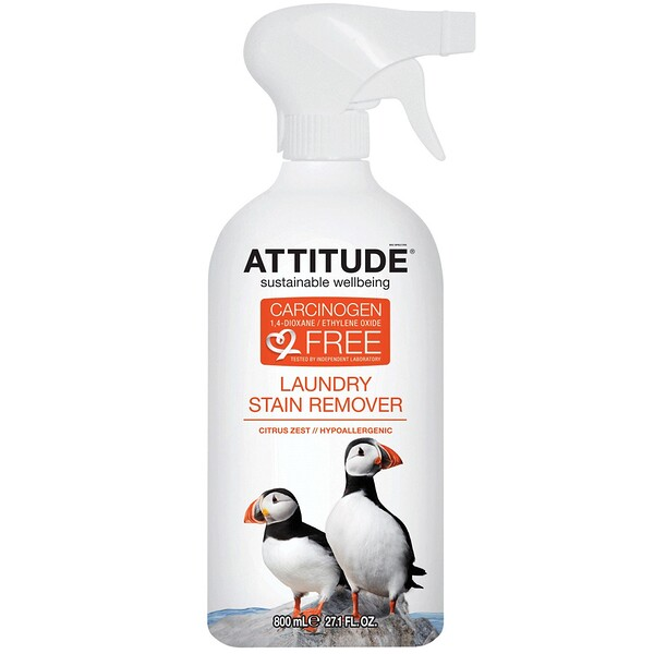 ATTITUDE, Laundry Stain Remover, Citrus Zest, 27.1 fl oz (800 ml) (Discontinued Item)