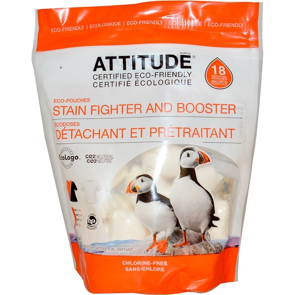 ATTITUDE, Stain Fighter and Booster, 18 Water-Soluble Pouches, 12.7 oz (360 g) (Discontinued Item)