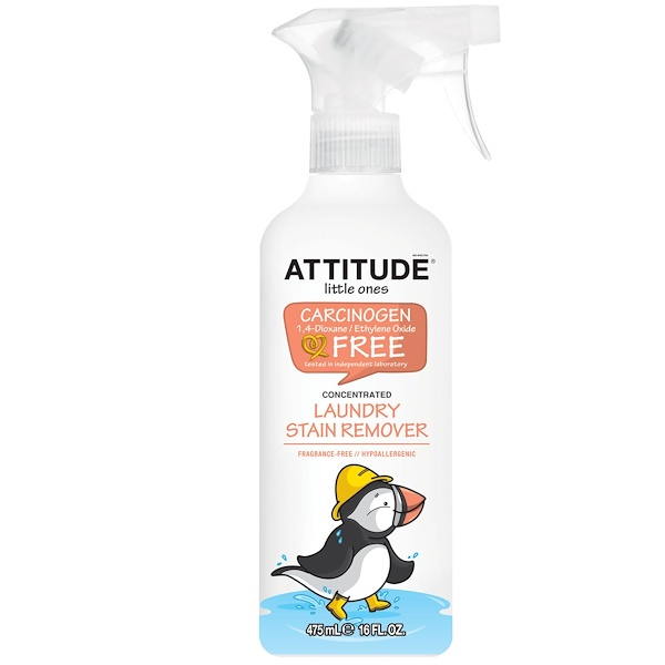 ATTITUDE, Little Ones, Laundry Stain Remover Spray, Concentrated, Fragrance-Free, 16 fl oz (475 ml) (Discontinued Item)