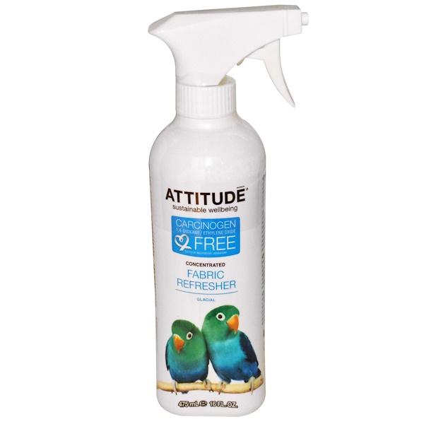 ATTITUDE, 濃縮ファブリックフレッシャー、グレイシャル(氷の爽やかさ)、16液量オンス(475 ml)