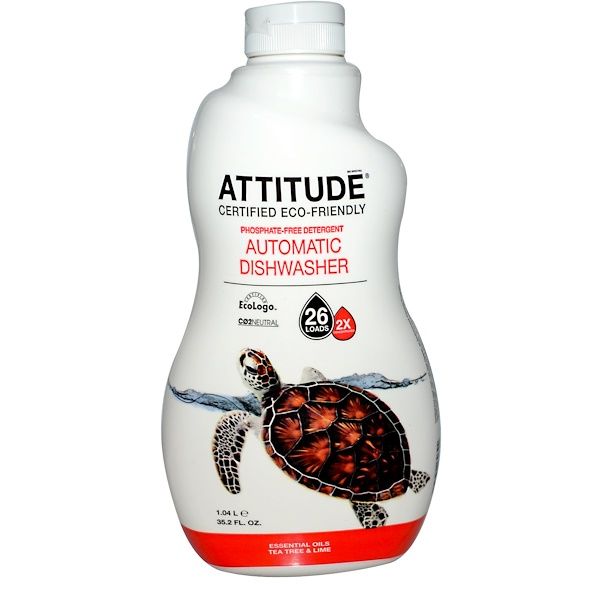 ATTITUDE, Concentrated Automatic Dishwasher, Tea Tree & Lime, 35.2 fl oz (1.04 L) (Discontinued Item)