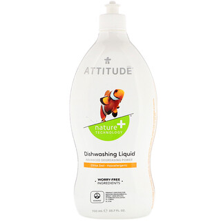 ATTITUDE, アティチュード, Dishwashing Liquid, Citrus Zest, 23.7 fl oz (700 ml)