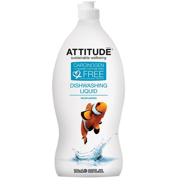 ATTITUDE, ディッシュウォッシングリキッド、ワイルドフラワー、4 oz (118 ml)