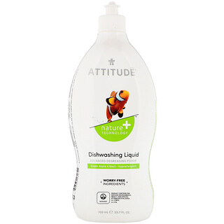 ATTITUDE, 食器用洗剤, グリーンアップル&バジル, 23.7液量オンス(700 ml)