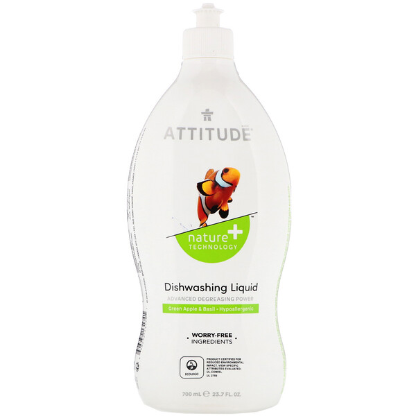 ATTITUDE, Dishwashing Liquid, Green Apple & Basil, 23.7 fl oz (700 ml) (Discontinued Item)