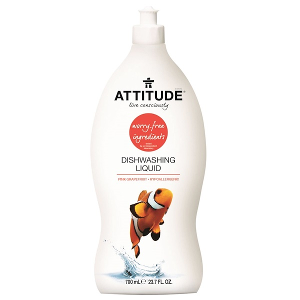 ATTITUDE, Dishwashing Liquid, Pink Grapefruit, 23.7 fl oz (700 ml)