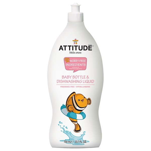 ATTITUDE, Little Ones, Baby Bottle & Dishwashing Liquid, Fragrance-Free, 23.7 fl oz (700 ml)