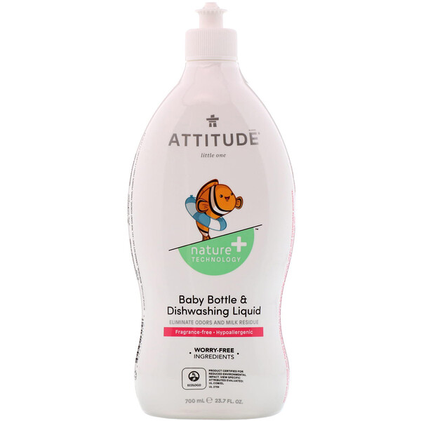 ATTITUDE, Baby Bottle & Dishwashing Liquid, Fragrance-Free, 23.7 fl oz (700 ml) (Discontinued Item)