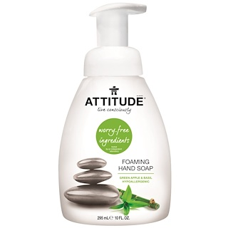 ATTITUDE, Foaming Hand Soap, Green Apple & Basil, 10 fl oz (295 ml)