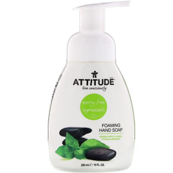 ATTITUDE, Jabón de Manos Espumante, Manzana Verde y Albahaca, 10 fl oz (295 ml) (Discontinued Item)