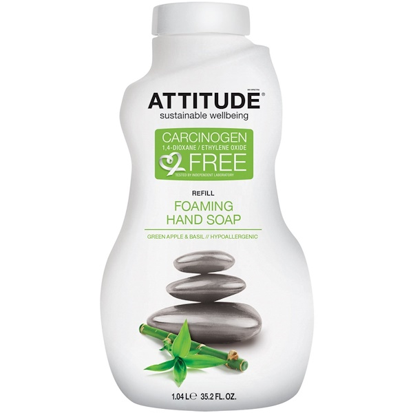 ATTITUDE, Foaming Hand Soap, Refill, Green Apple & Basil, 35.2 fl oz (1.04 l) (Discontinued Item)