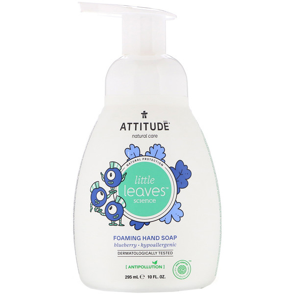 ATTITUDE, Little Leaves Science, Sabonete Espumante, Mirtilo, 10 fl oz (295 ml)