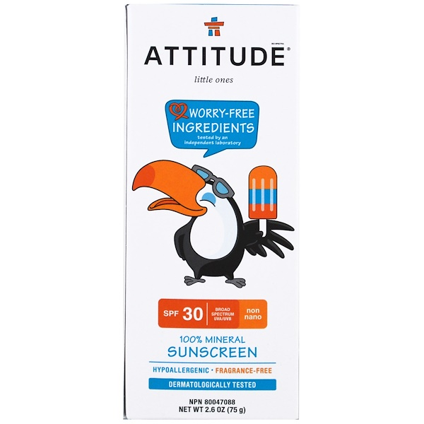 ATTITUDE, Little Ones, 100% Mineral Sunscreen, SPF 30, 2.6 oz (75 g)