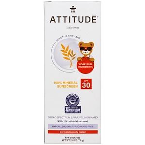 Аттитуде, Little Ones, Sensitive Skin Care, Baby, 100% Mineral Sunscreen, SPF 30, Fragrance Free, 2.6 oz (75 g) отзывы
