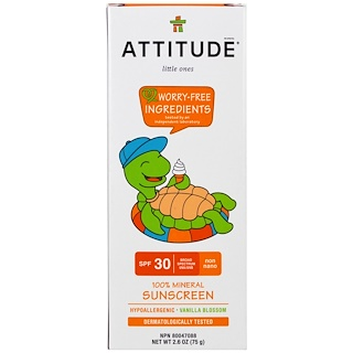 ATTITUDE, Little Ones, 100% Mineral Sunscreen, SPF 30, Vanilla Blossom, 2.6 oz (75 g)