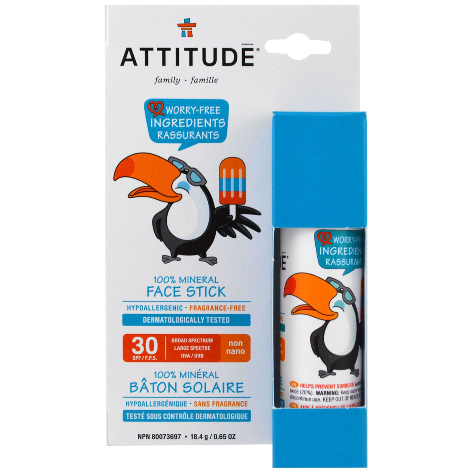 ATTITUDE, Family, 100% Mineral Face Stick, SPF 30, Fragrance Free, 0.65 oz (18.4 g)