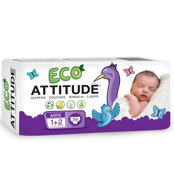 ATTITUDE, Eco Diapers, 36 Diapers, Mini 1 + 2, 6-15 lbs (3-7 kg) (Discontinued Item)