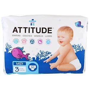 Аттитуде, Diapers, Midi 3, 11-24 lbs (5-11 kg), 30 Diapers отзывы