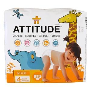 Аттитуде, Diapers, Maxi, Size 4, 20-31 lbs (9-14 kg), 26 Diapers отзывы