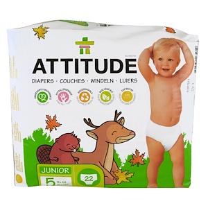 Аттитуде, Diapers, Junior, Size 5, 27+ lbs (12+ kg), 22 Diapers отзывы