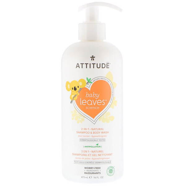 ATTITUDE, Baby Leaves Science, shampooing naturel et gel douche 2-en-1, nectar de poire, 473 ml (16 oz liq.)
