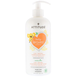 Аттитуде, Baby Leaves Science, 2-In-1 Natural Shampoo & Body Wash, Pear Nectar, 16 fl oz (473 ml) отзывы покупателей