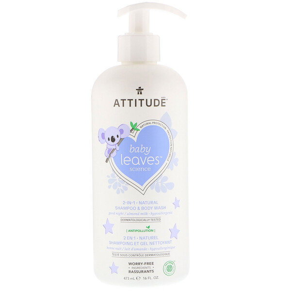 ATTITUDE, Baby Leaves Science, 2-In-1 Natural Shampoo & Body Wash, Almond Milk, 16 fl oz (473 ml)