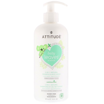 ATTITUDE Baby Leaves Science,2合1天然洗髮水和沐浴露,甜蘋果,16液量盎司(473毫升)