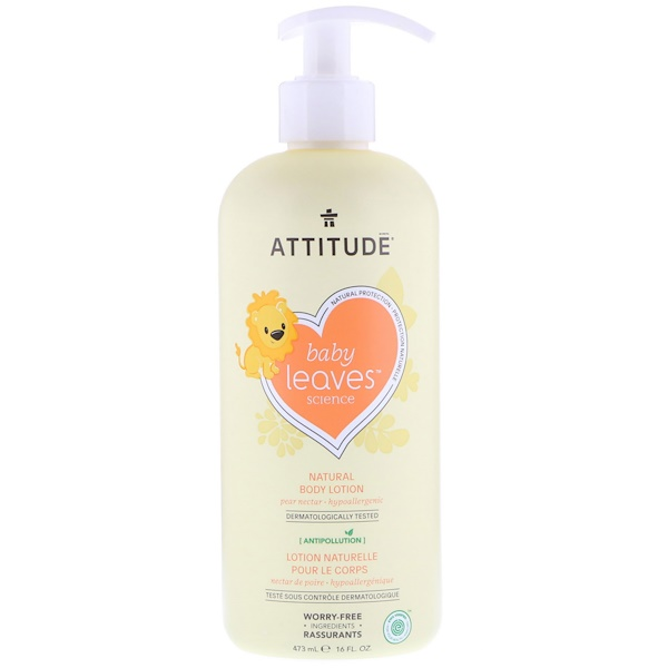 ATTITUDE, Baby Leaves Science, Lait corporel naturel, Nectar de poire, 473 ml (16 oz liq.) (Discontinued Item)