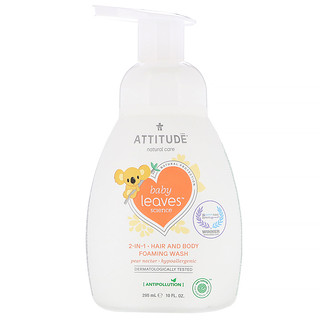 ATTITUDE, Baby Leaves Science, 2-In-1 Hair and Body Foaming Wash, Pear Nectar, 10 fl oz (295 ml)