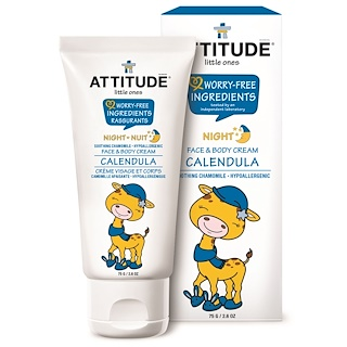 ATTITUDE, Little Ones, Face & Body Cream, Night, Calendula, 2.6 oz (75 g)