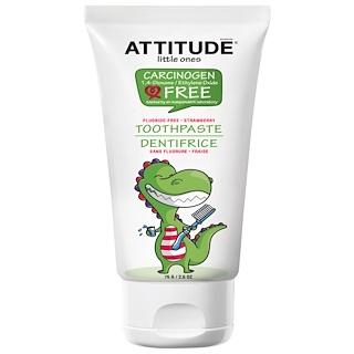 ATTITUDE, Little Ones, Toothpaste, Fluoride Free, Strawberry, 2.6 oz (75 g)