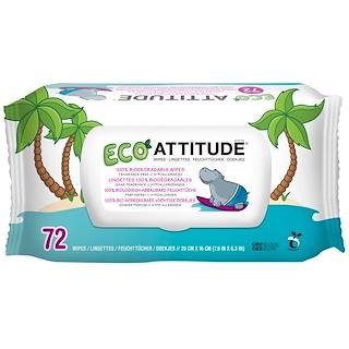 ATTITUDE, Eco濕巾紙,無香味,72張