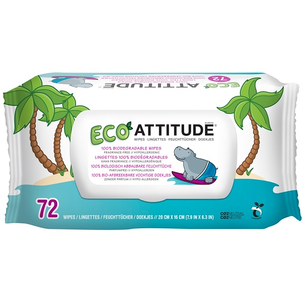 ATTITUDE, Eco Wipes, Fragrance-Free, 72 Wipes