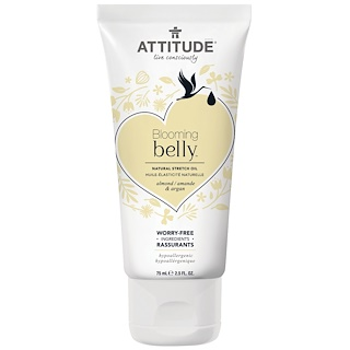 ATTITUDE, Blooming Belly, Natural Stretch Oil, Almond & Argan , 2.5 fl oz (75 ml)