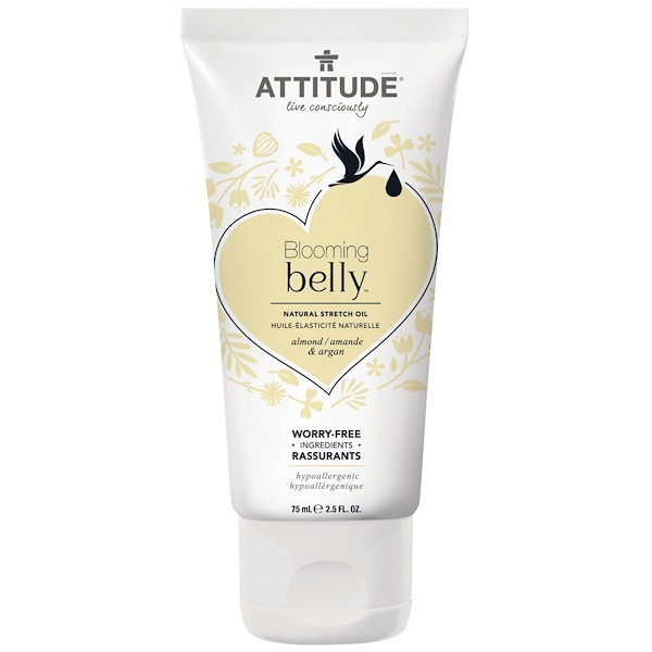 ATTITUDE, Blooming Belly, Natural Stretch Oil, Almond & Argan , 2.5 fl oz (75 ml) (Discontinued Item)