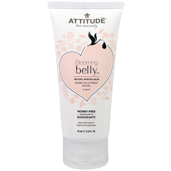 ATTITUDE, Blooming Belly, Natural Nursing Balm, Argan, 2.5 fl oz. (75 ml) (Discontinued Item)