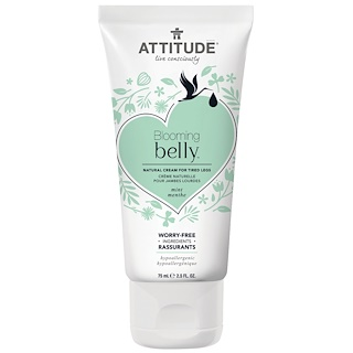 ATTITUDE, Blooming Belly, Natural Cream for Tired Legs, Mint, 2.5 fl oz (75 ml)