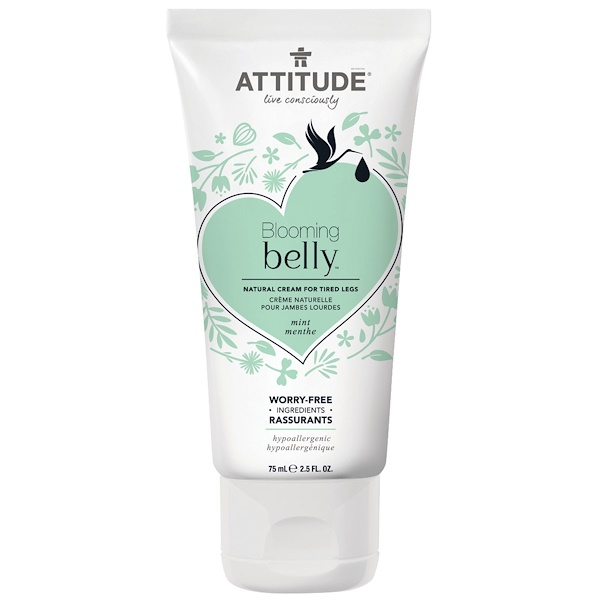 ATTITUDE, Blooming Belly, Natural Cream for Tired Legs, Mint, 2.5 fl oz (75 ml) (Discontinued Item)