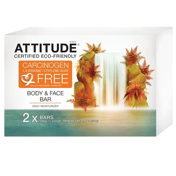 ATTITUDE, Body & Face Bar, Daily Moisturizer, 2 Bars, 4.23 oz (120 g) (Discontinued Item)