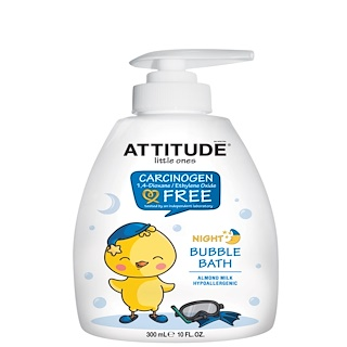 ATTITUDE, Little Ones, Night Bubble Bath, Almond Milk, 10 fl oz (300 ml)