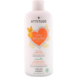 ATTITUDE, Baby Leaves Наука, Натуральная пена для ванны, Грушевый нектар, 16 ж. унц.(473 мл)