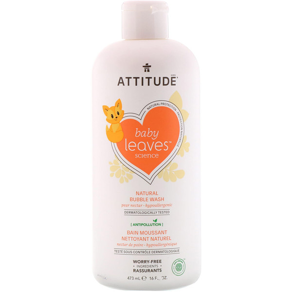 ATTITUDE, Baby Leaves Science, Natural Bubble Wash, Pear Nectar, 16 fl oz (473 ml) (Discontinued Item)