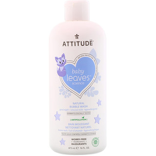 ATTITUDE, Baby Leaves Наука, Натуральная пена для ванны, Спокойной ночи / Миндальное молоко, 16 ж. унц.(473 мл)