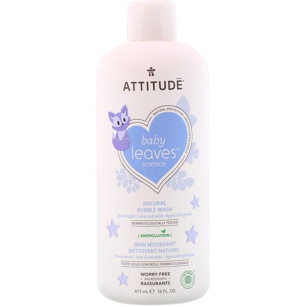 ATTITUDE, Baby Leaves Science, Natural Bubble Wash, Good Night / Almond Milk, 16 fl oz (473 ml) (Discontinued Item)